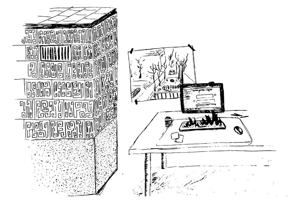 Schreibtisch mit Computer und einer Tastatur in Flammen