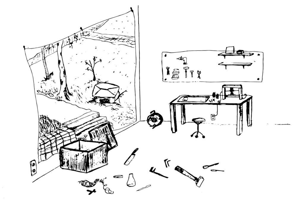 Werkstatt mit Schreibtisch, Werkzeugen und Geräten
