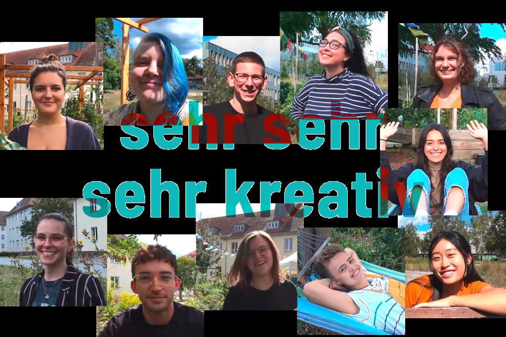 Fotokomposition mit den Mitgliedern des StuRa FB4 der FH Potsdam. Davor die Worte: sehr sehr sehr kreativ