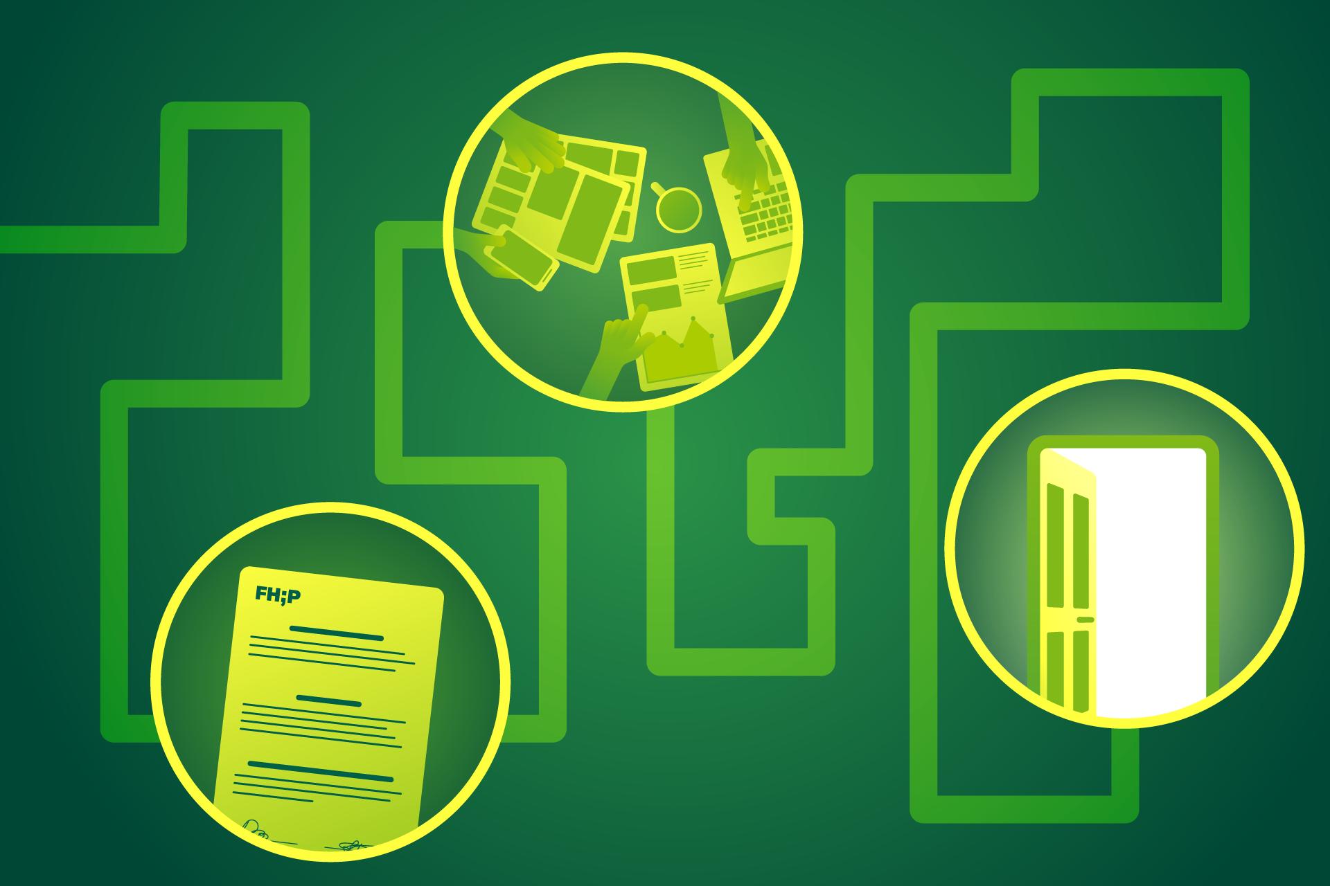 Grafik: ein labyrinthischer Weg mit drei Stationen, darunter ein Praktikumsvertrag, das Praktikum selbst und am Ende eine offene Tür.
