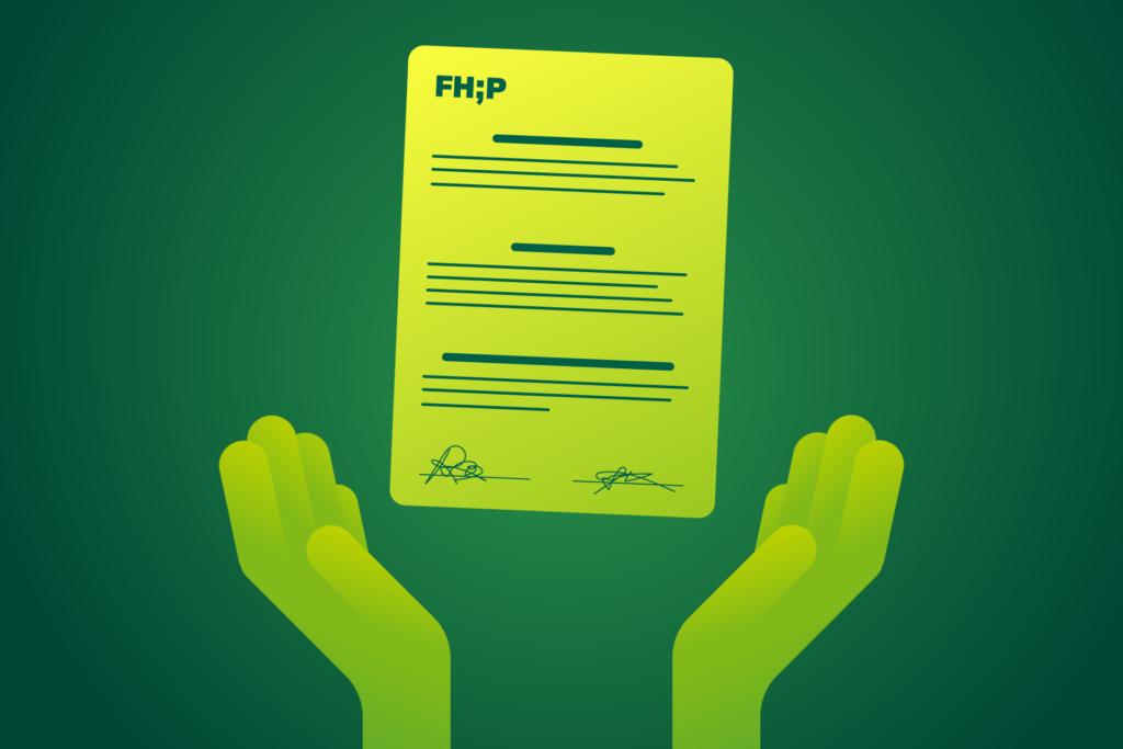 Grafik: zwei Hände und ein unterschriebener Praktikumsvertrag.
