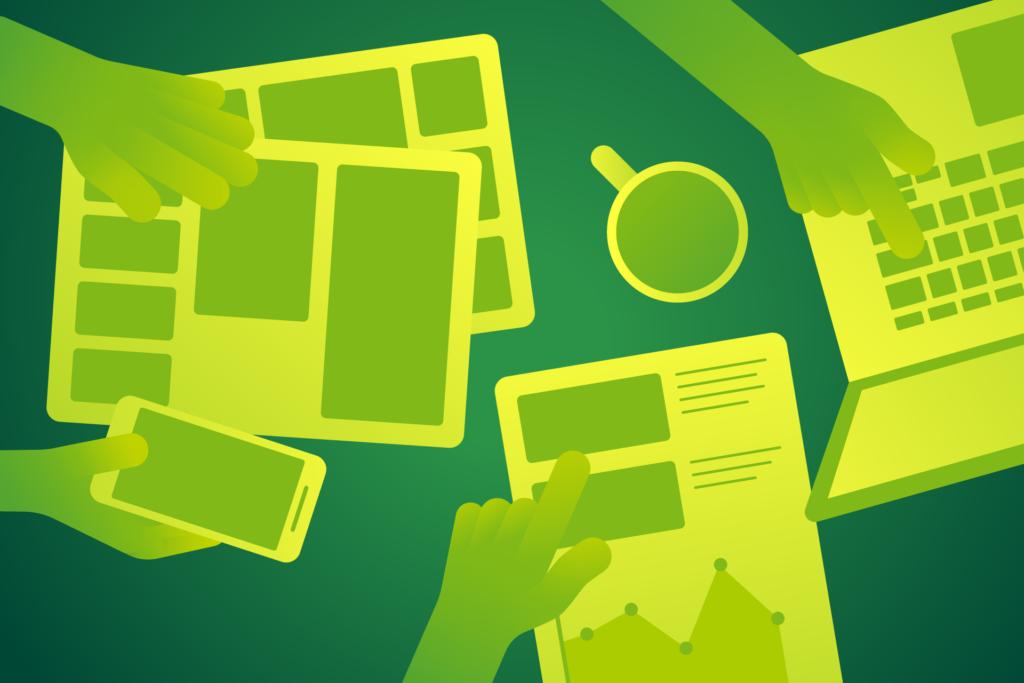 Grafik: Zusammenarbeit. Tisch mit Papieren und Geräten. Hände zeigen auf die Objekte.