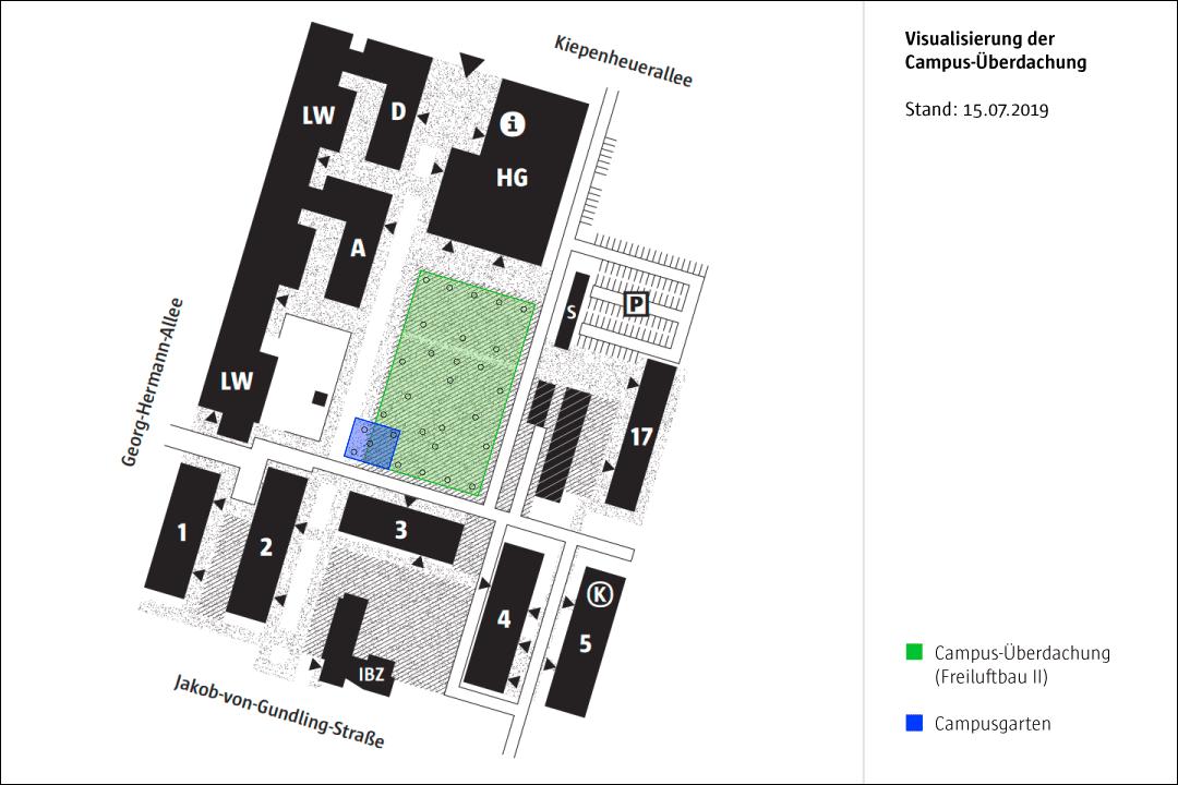 Campusplan mit Einzeichnung des Freiluftbautes